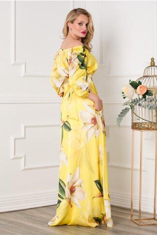 Rochie Simona lunga galbena cu imprimeuri florale