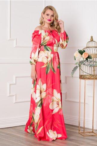 Rochie Simona lunga rosie cu imprimeuri florale