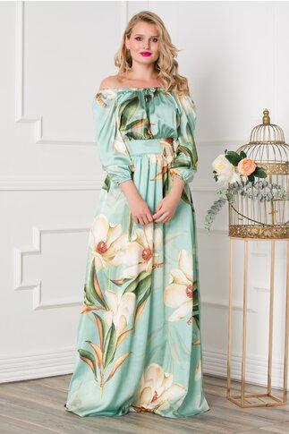 Rochie Simona lunga turcoaz cu imprimeuri florale