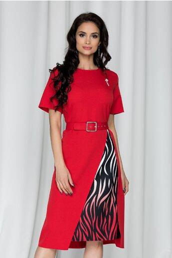 Rochie Simona rosie cu imprimeu pe fusta
