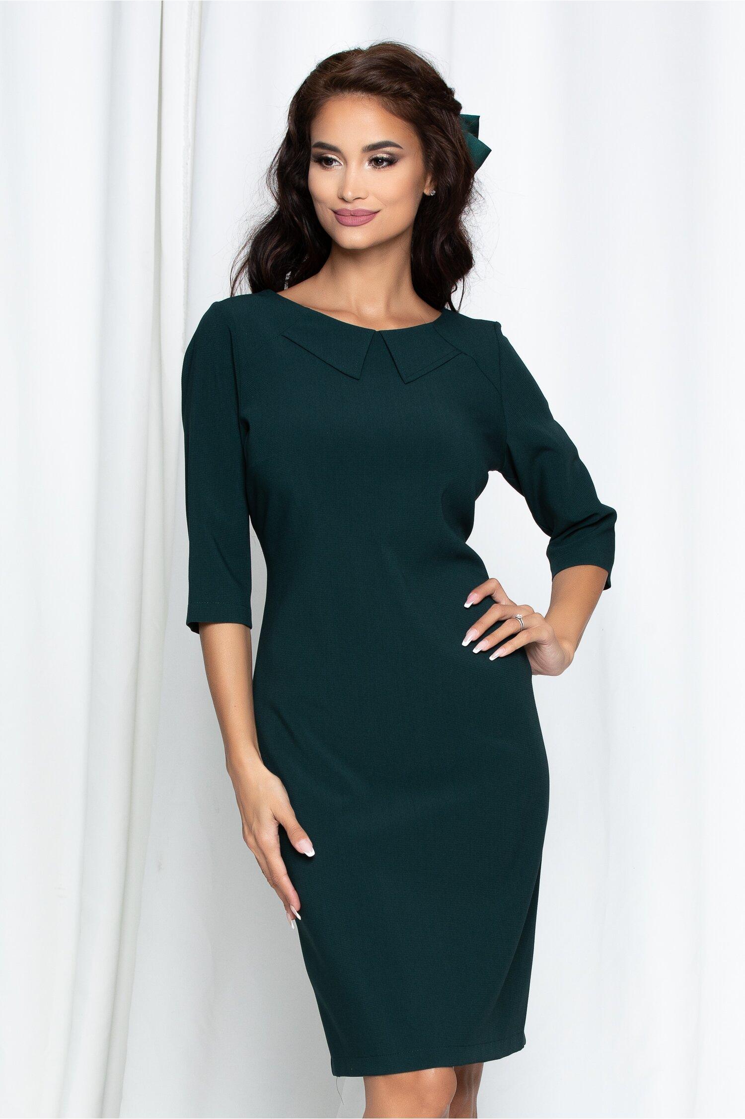 Rochie Simona verde cu guler discret