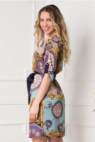 Rochie Sinem bleu cu imprimeuri diverse