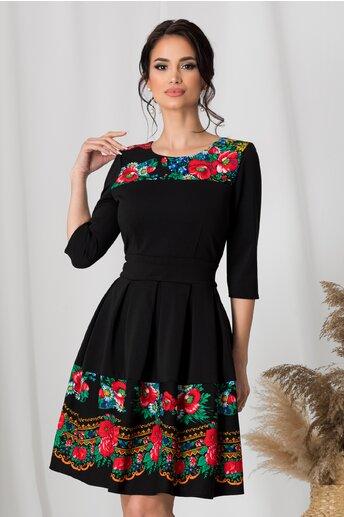 Rochie Sofia neagra cu imprimeu floral tranditional
