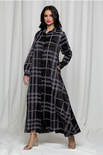 Rochie Sofia tip camasa neagra cu imprimeu animal print si carouri