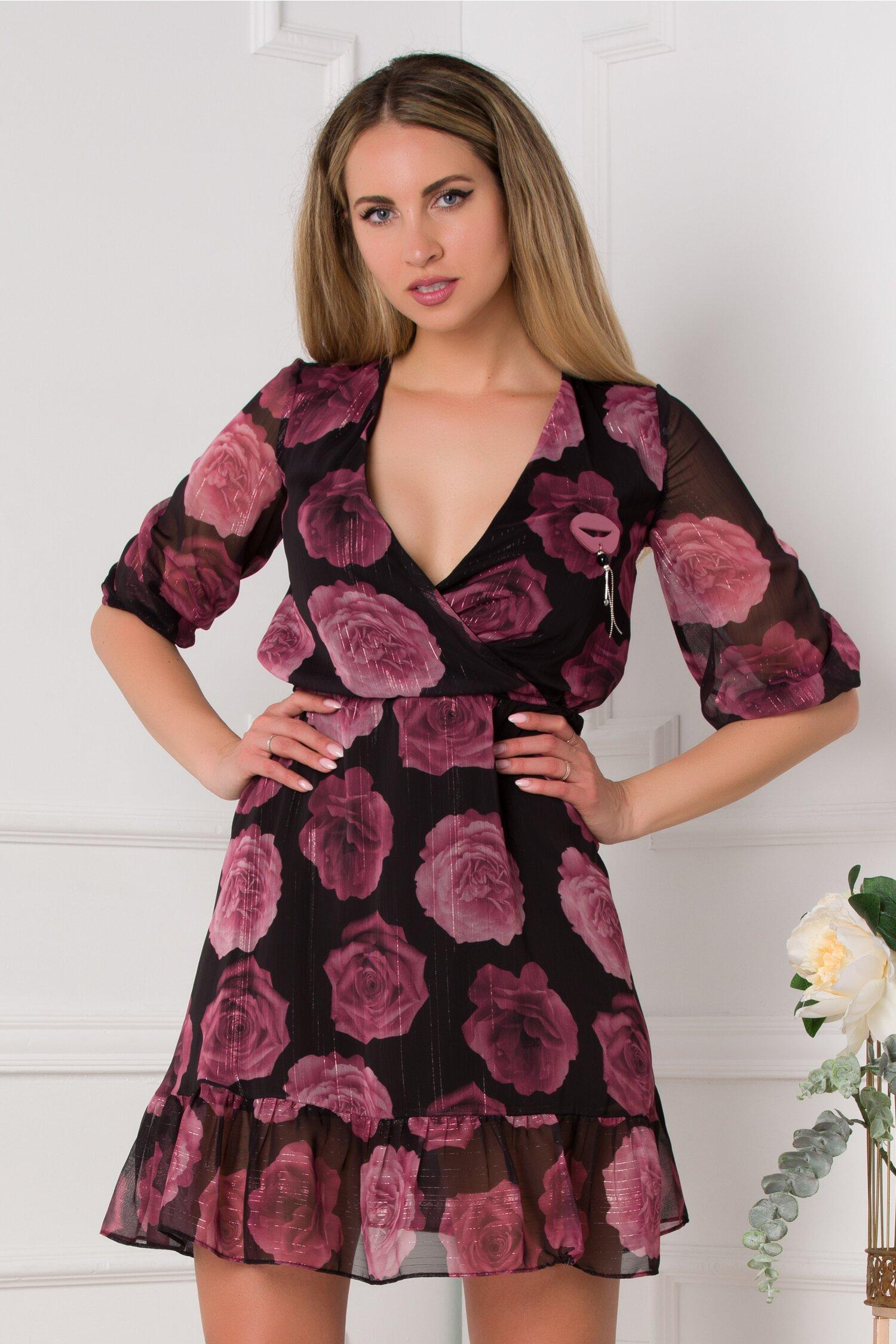 Rochie Sofie neagra cu trandafiri burgundy imprimati