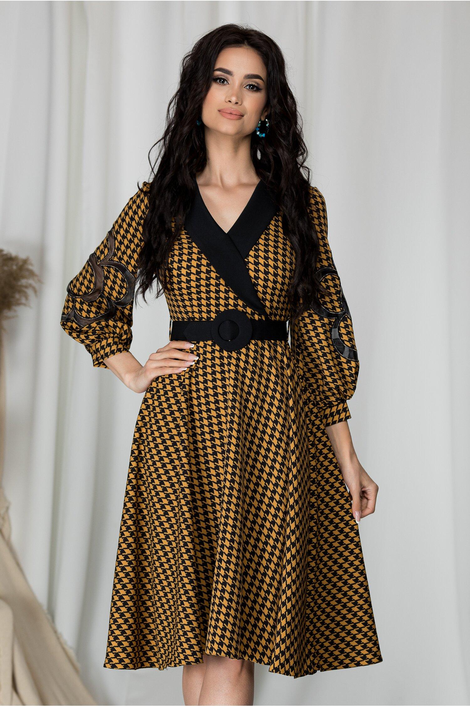 Rochie Sonia clos cu imprimeu picior de cocos maro-negru