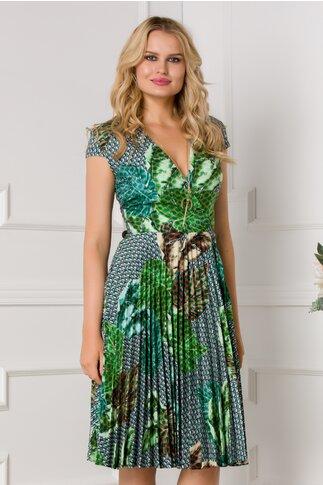 Rochie Sonia gri cu imprimeu tropical