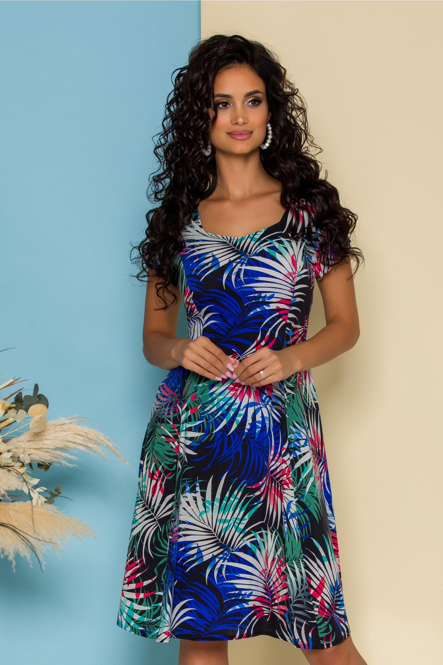 Rochie Sonia neagra cu imprimeu exotic colorat