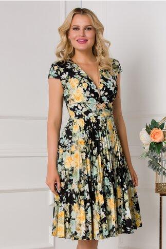 Rochie Sonia neagra cu imprimeu floral galben