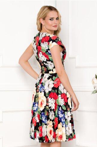Rochie Sonia neagra cu imprimeu floral rosu