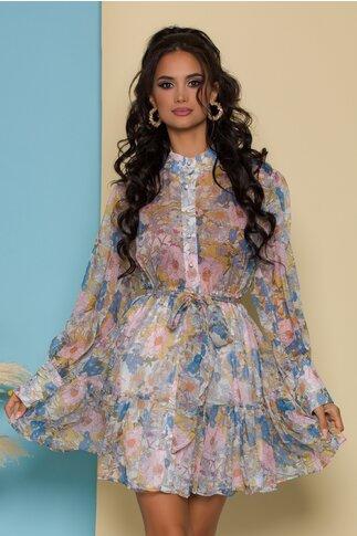 Rochie Sonia vaporoasa cu imprimeuri florale bleu