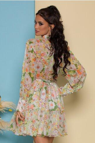 Rochie Sonia vaporoasa cu imprimeuri florale verzi