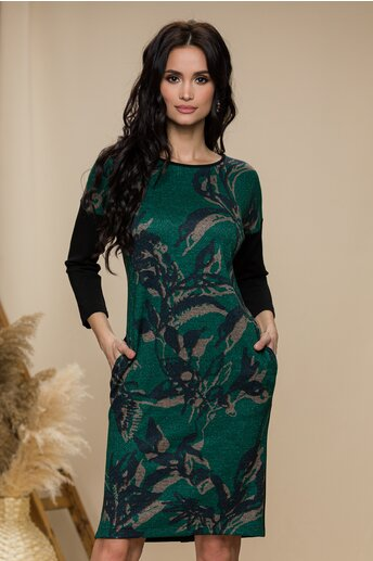 Rochie Sonia verde cu negru si nasturi decorativi la spate