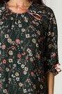 Rochie Sonia verde inchis cu imprimeuri florale roz