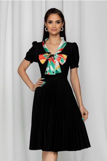 Rochie Sonnia neagra cu guler tip esarfa si pliuri pe fusta