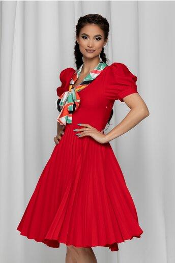 Rochie Sonnia rosie cu guler tip esarfa si pliuri pe fusta