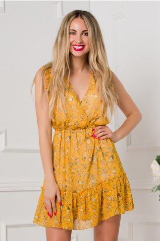 Rochie Sonny galben mustar cu imprimeuri florale si volanase
