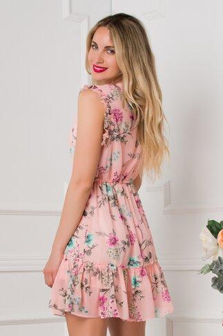 Rochie Sonny roz cu imprimeuri florale si volanase