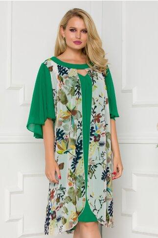Rochie Sophia verde cu imprimeu floral