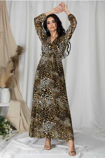 Rochie Sophie lunga cu imprimeu animal print maro
