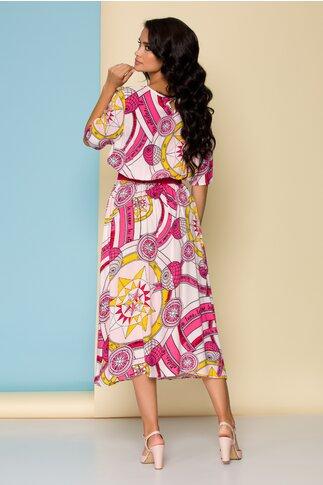 Rochie Sophie roz cu imprimeu marinaresc si elastic in talie