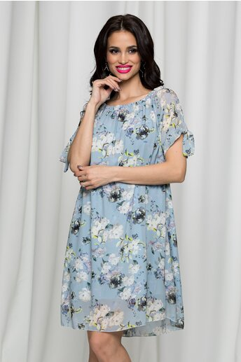 Rochie Sorana bleu cu imprimeuri florale si decolteu elastic