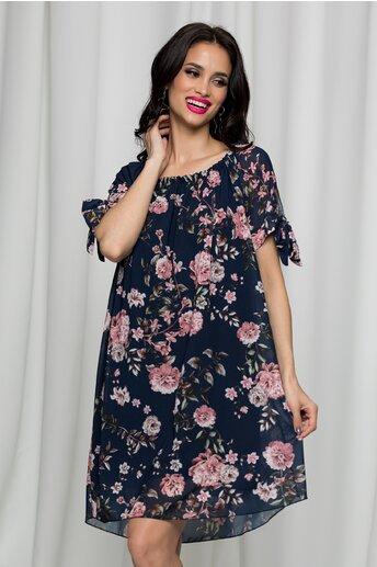 Rochie Sorana bleumarin cu imprimeuri florale roz si decolteu elastic