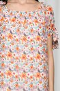 Rochie Sorana cu imprimeuri florale orange si decolteu elastic