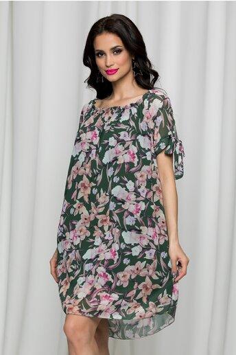 Rochie Sorana kaki cu imprimeuri florale si decolteu elastic