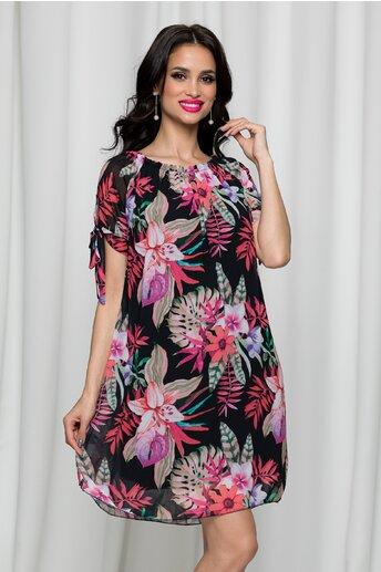 Rochie Sorana neagra cu imprimeu exotic roz si decolteu elastic