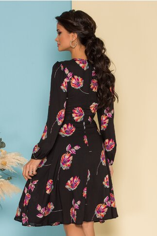 Rochie Sorana neagra cu imprimeuri florale