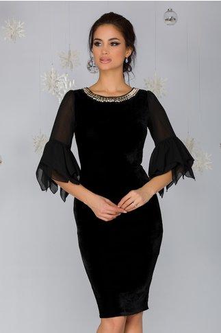 Rochie Sorana neagra din catifea cu aplicatie la decolteu