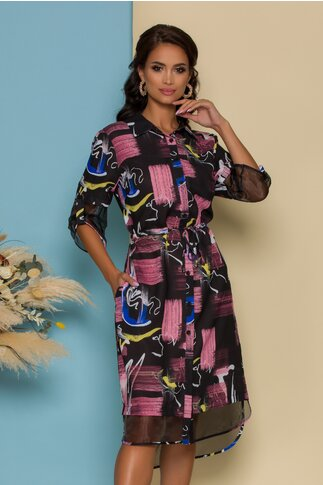Rochie Sorana tip camasa neagra cu imprimeuri roz