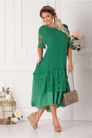 Rochie Soraya verde cu insertii din broderie florala si tull