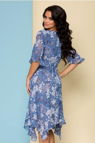 Rochie Sore bleu cu imprimeu floral alb