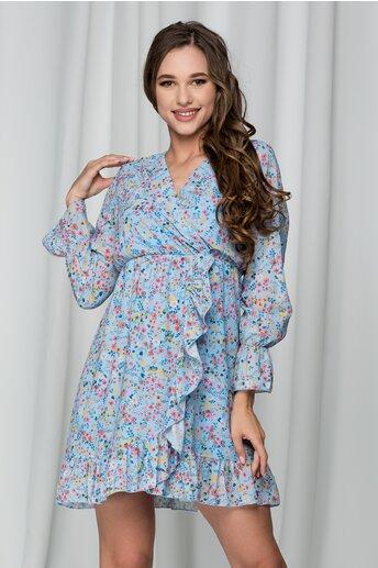 Rochie Sore bleu cu imprimeuri florale si volanas pe fusta