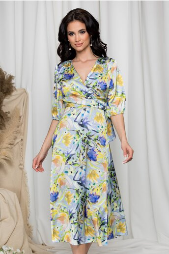 Rochie Sore bleu cu imprimeuri galbene