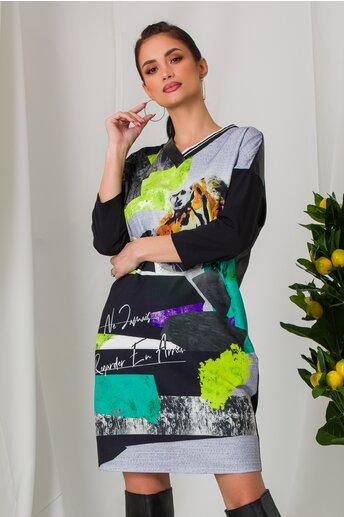 Rochie Sore gri cu imprimeu si spate din piele ecologica