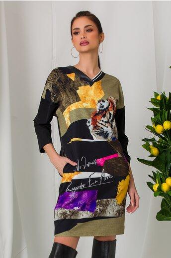 Rochie Sore kaki cu imprimeu si spate din piele ecologica