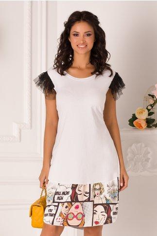 Rochie Sore tip tricou alb cu volane din tull la maneci