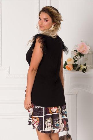 Rochie Sore tip tricou negru cu volane din tull la maneci