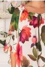 Rochie Sorina alba cu imprimeuri florale corai