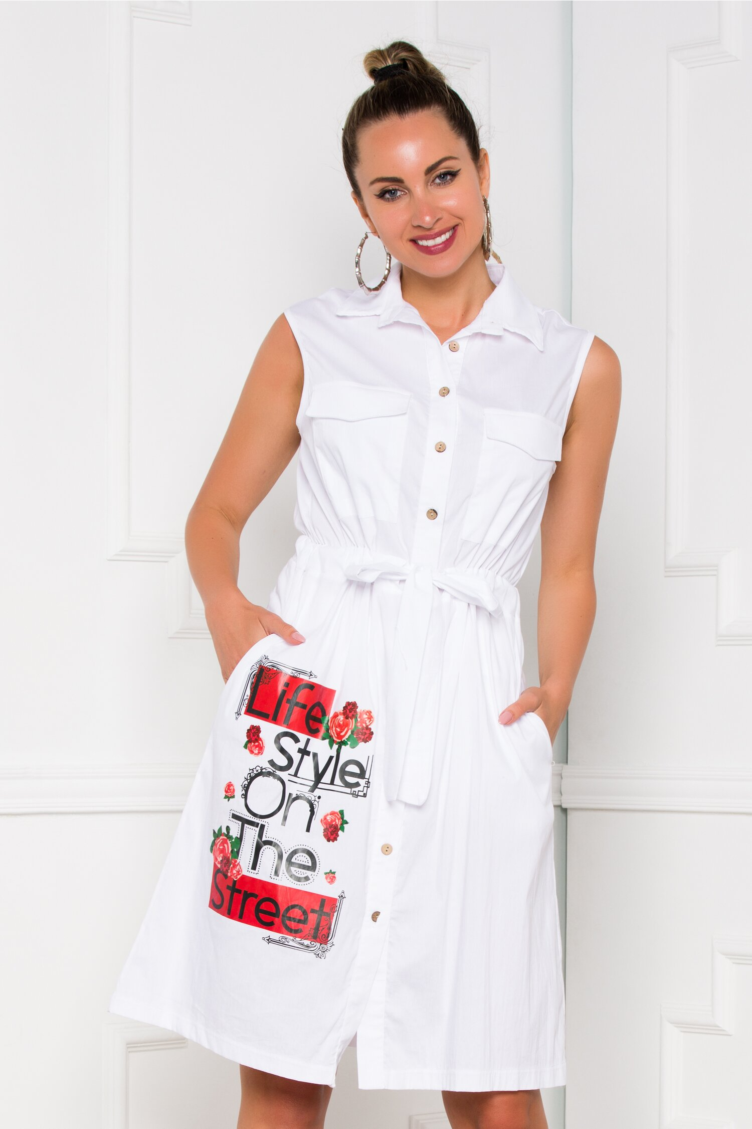 Rochie Sorina alba tip camasa cu imagine imprimata si cordon in talie