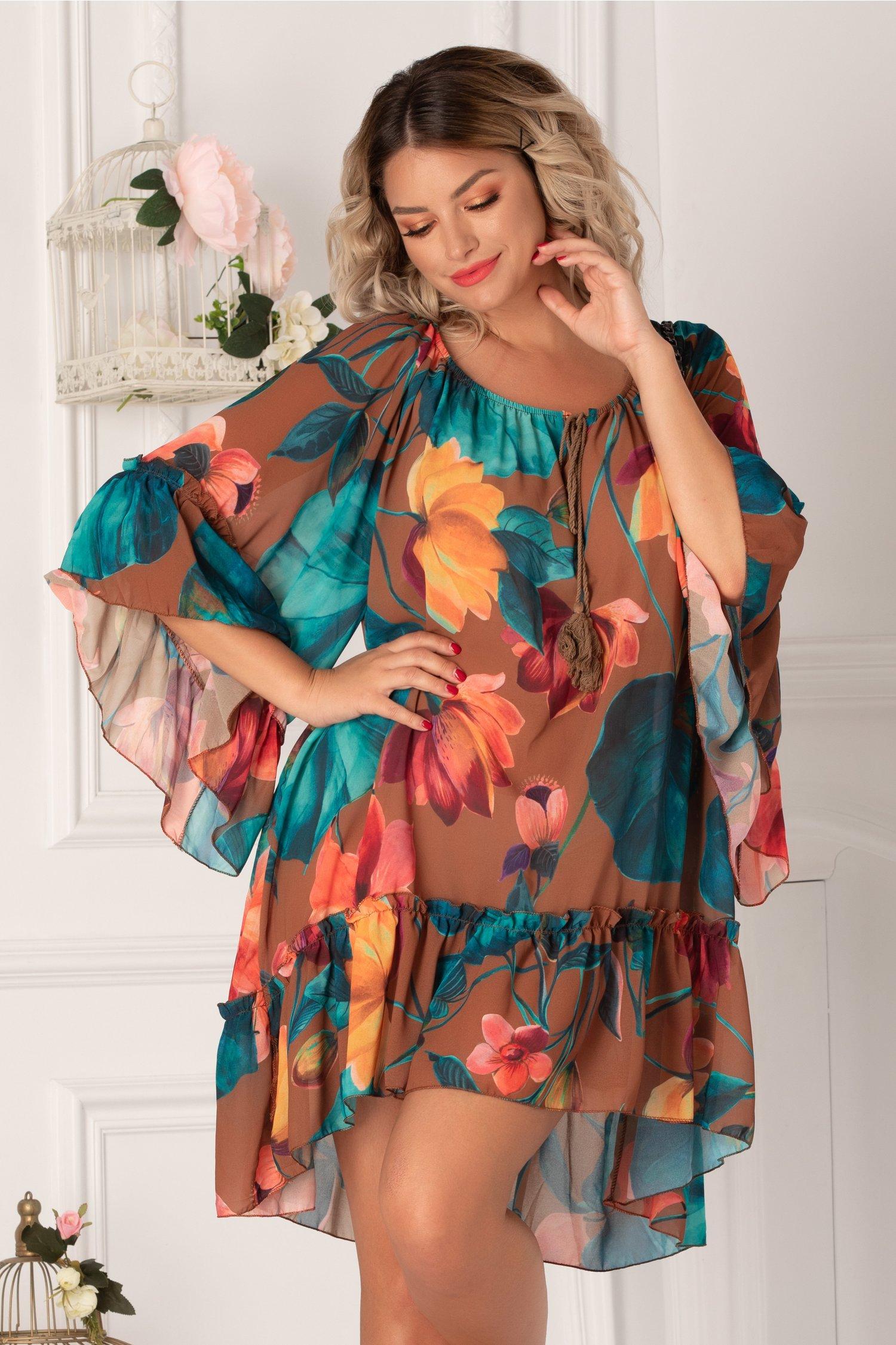 Rochie Sorina maro cu imprimeuri florale turcoaz