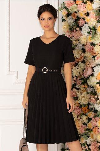 Rochie Sorina neagra cu fusta plisata