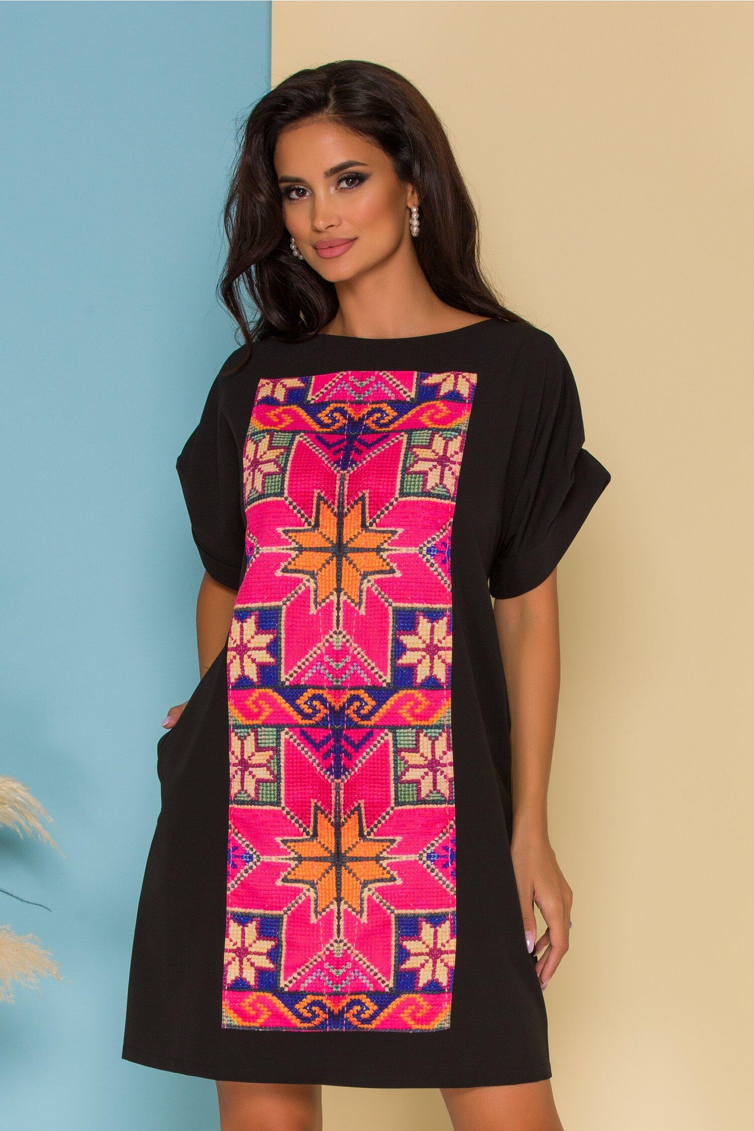 Rochie Sorina neagra cu imprimeu traditional