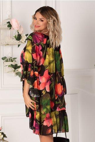 Rochie Sorina neagra cu imprimeuri florale fucsia
