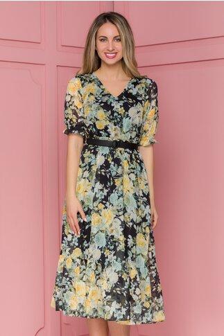 Rochie Sorina neagra cu imprimeuri florale galbene