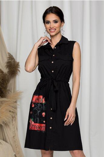 Rochie Sorina neagra tip camasa cu imagine imprimata si cordon in talie