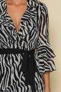 Rochie Sorina petrecuta cu imprimeu zebra